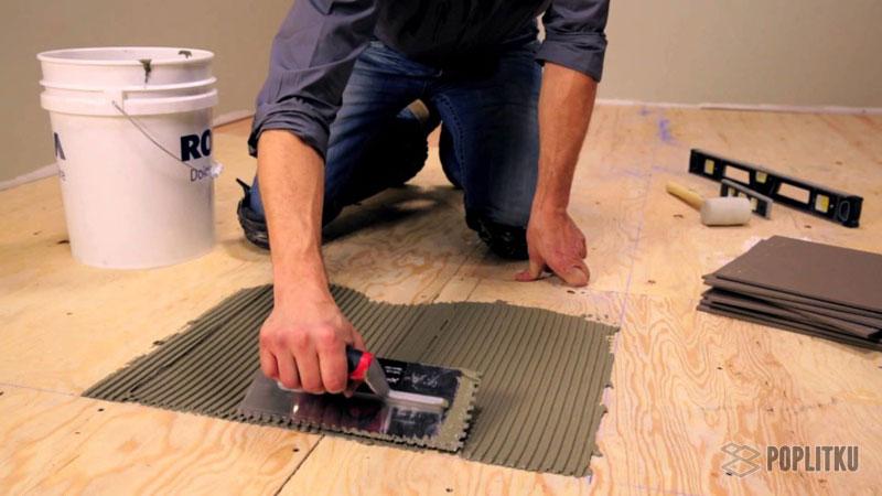 Как положить кафельную плитку на деревянный пол самостоятельно? 2-5