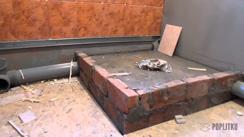 Душевая кабина из плитки своими руками 17-5