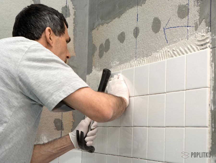 Плитка на стену в ванной своими руками
