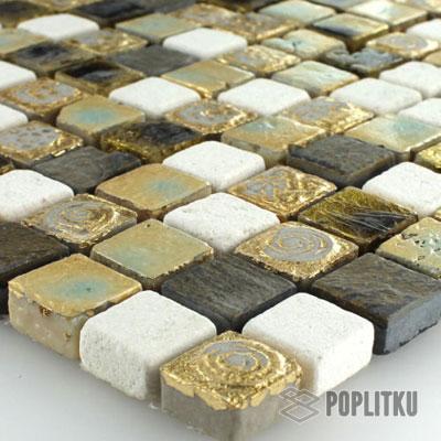 Мозаика мрамор золото-бежевая