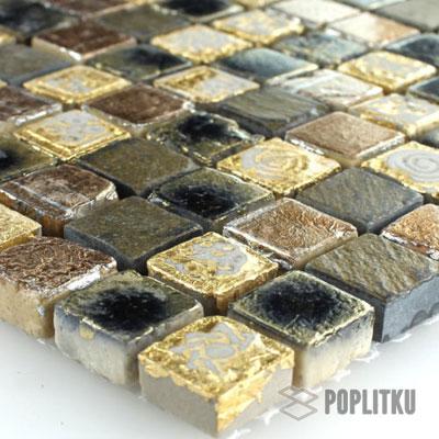 Мозаика мрамор золото-чёрная