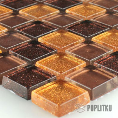 Золотисто-коричневая мозаика с блестками