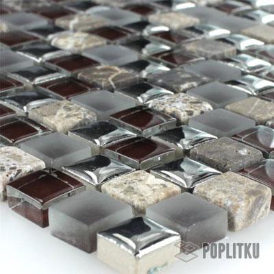 Мраморная мозаика цвет коричнево-серебряный