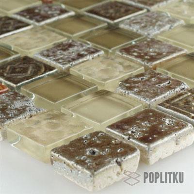 Мозаика из натурального камня коричнево-бежевая