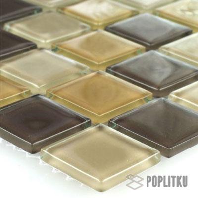 Стеклянная мозаика коричневый микс